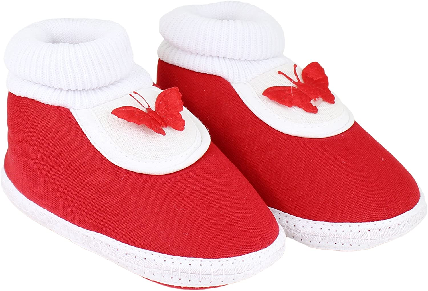 Neska Moda Unisex Baby Booties For 9 To 12 Months (Red)