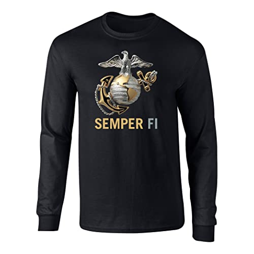 79744053 Fashion Greek US Marines Semper Fi Eagle Graphic Long Sleeve Officially  Licensed T Shirt