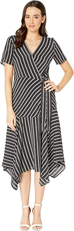 Short Sleeve Playful Stripe Asymmetrical Hem Wrap Dress