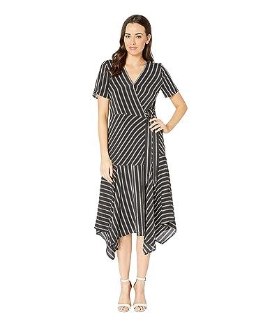 Vince Camuto Short Sleeve Playful Stripe Asymmetrical Hem Wrap Dress (Rich Black) Women