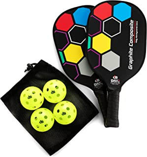 Premium Pickleball Set – 2 Paddle Set with Mesh Carry Bag, 4 Balls by Day 1 Sports - Durable Pickle Ball Paddles with Cushion Comfort Grip and Accessories - Graphite-Face Racquets, Pickleballs