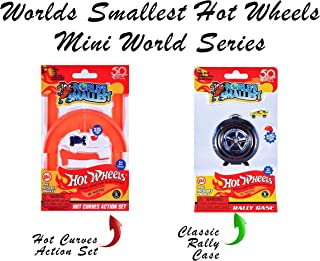 Worlds Smallest Hot Wheels Mini World Hot Curves Action Set with Classic Rally Case. Set Includes 2 Exclusive Hot Wheels Cars!