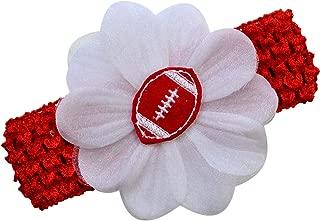 Baby Embroidered Felt Football Team Flower Headband Fits Newborns to Toddlers
