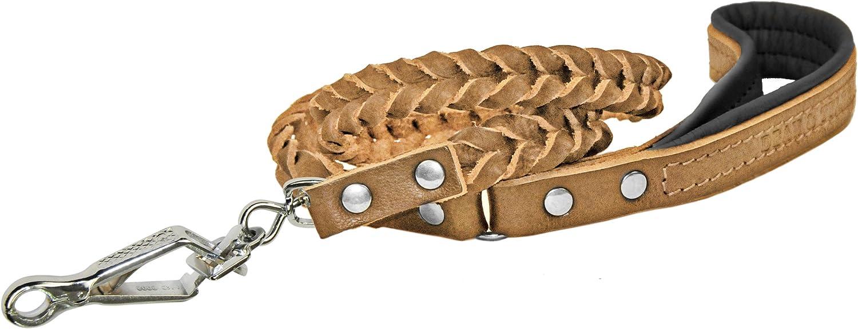 Dean & Tyler Tan Comfort Braid Sprenger Snap Leash with Black Padding, 4Feet by 3 4Inch