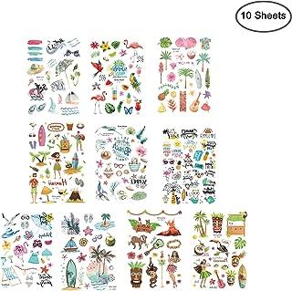 10 Sheets (100 Pcs) Hawaiian Luau Themed Temporary Tattoos Tropical Tattoos for Tropical Hawaiian Summer Beach Party Decoration Supplies