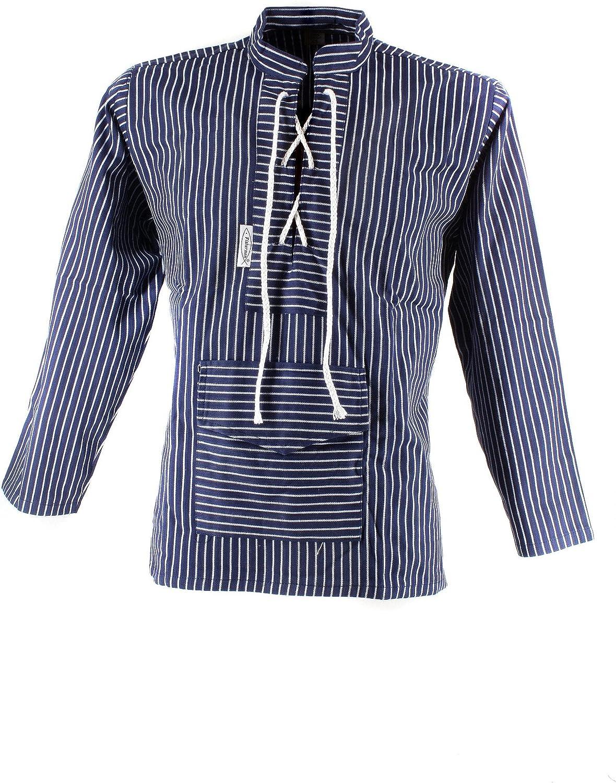 Fishermen Unisex - Erwachsene Fischerhemd Sailor, mit mit mit Kordel und Bauchtasche, breit gestreift B00IXPLIK0  Eleganter Stil 3defde