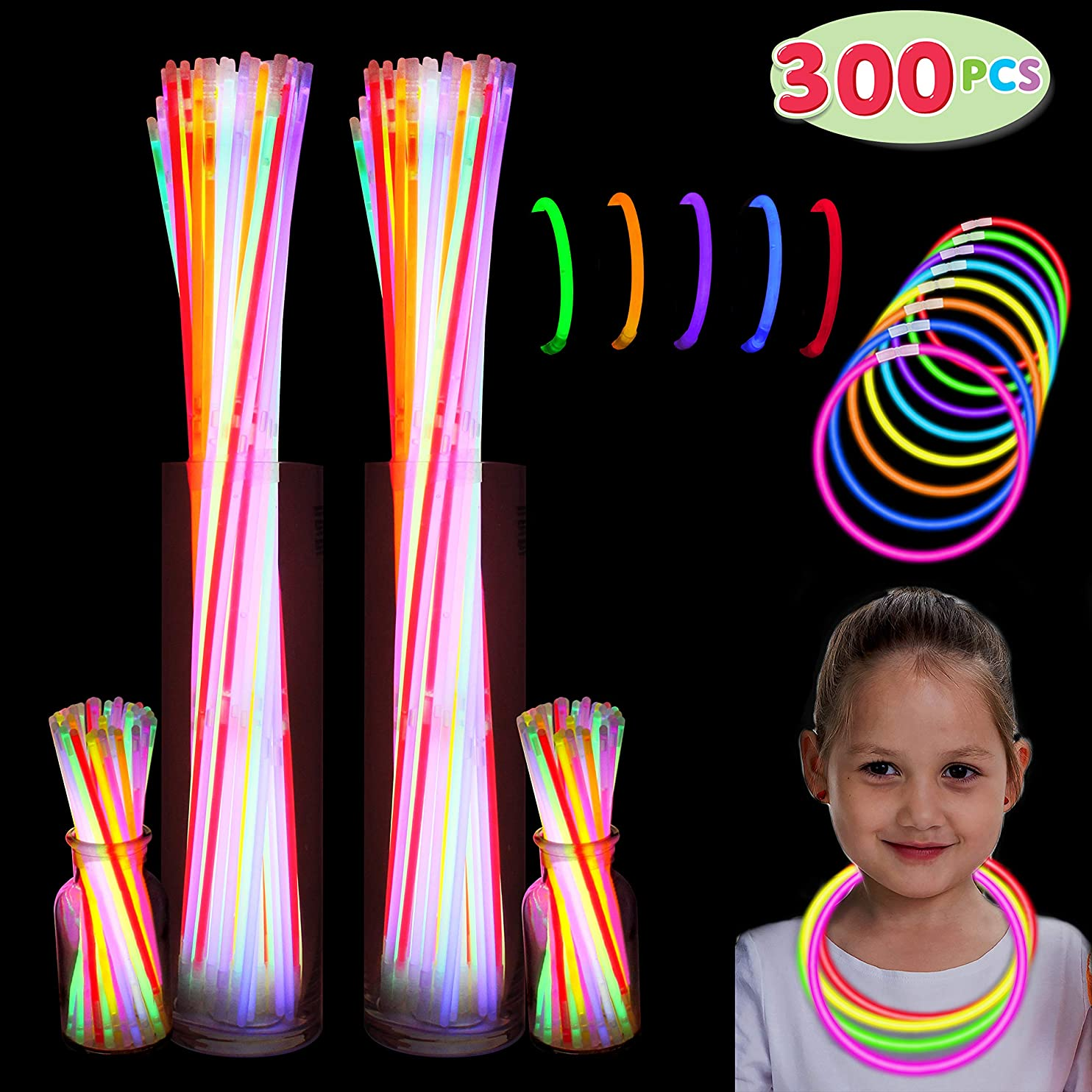 """300 Pack Glow Sticks with 100 22"""" Necklaces + 200 8"""" Bracelets; Connector Included; Glowstick Bundle Party Favors, Glow in the Dark Party Bulk Supplies, Neon Light Up Accessories for Kids and Adults. crtzmpmolhd56"""