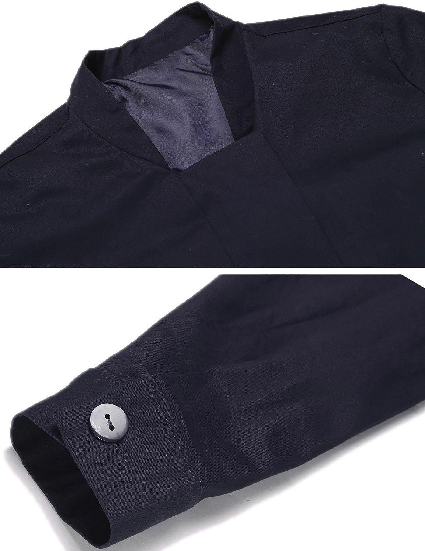 Zeela Damen Casual Kurz Mantel Wasserdichter Funktionsjacke Trainingsjacke Fitnessjacke Sport Jacke mit Taschen Blau