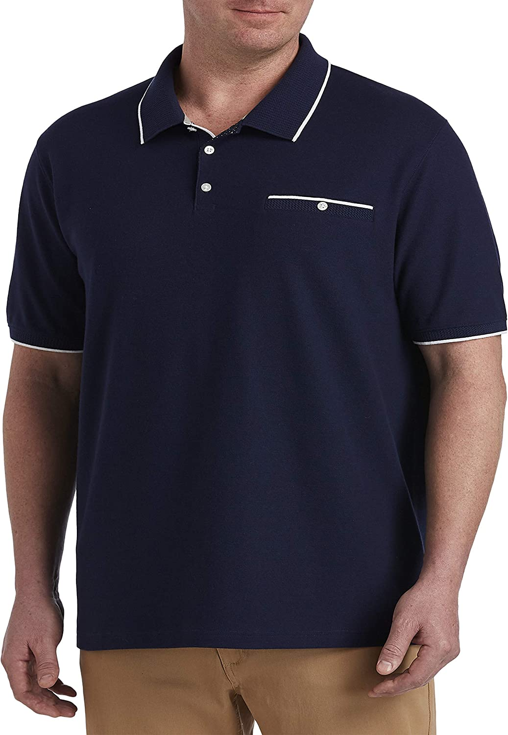 Harbor Bay by DXL Big and Tall Contrast Detail Performance Polo Shirt, Blue