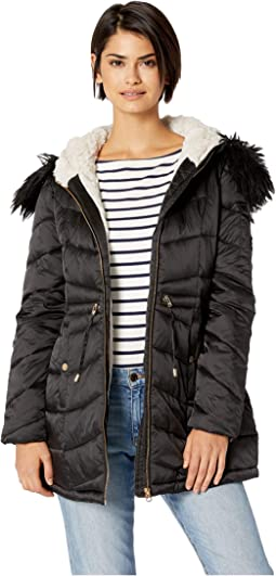 Quilted Hooded Jacket w/ Tie Waist