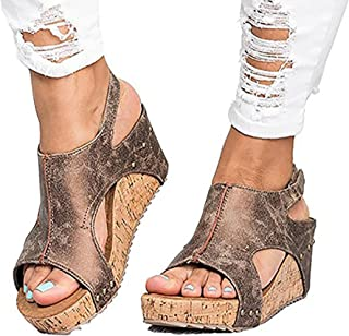 peep toe pu blocking hook loop wedge sandals
