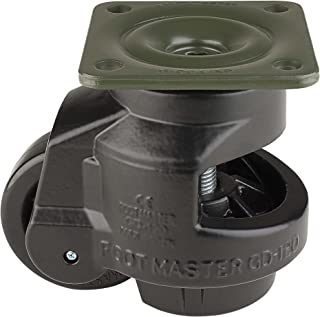 """FOOTMASTER GD-120F-BLK Nylon Wheel and Aluminum Pad Leveling Caster, 2200 lbs, Top Plate 3 3/4"""" x 3 3/4"""", Bolt Holes 2 3/4"""" x 2 3/4"""", Black Finish"""