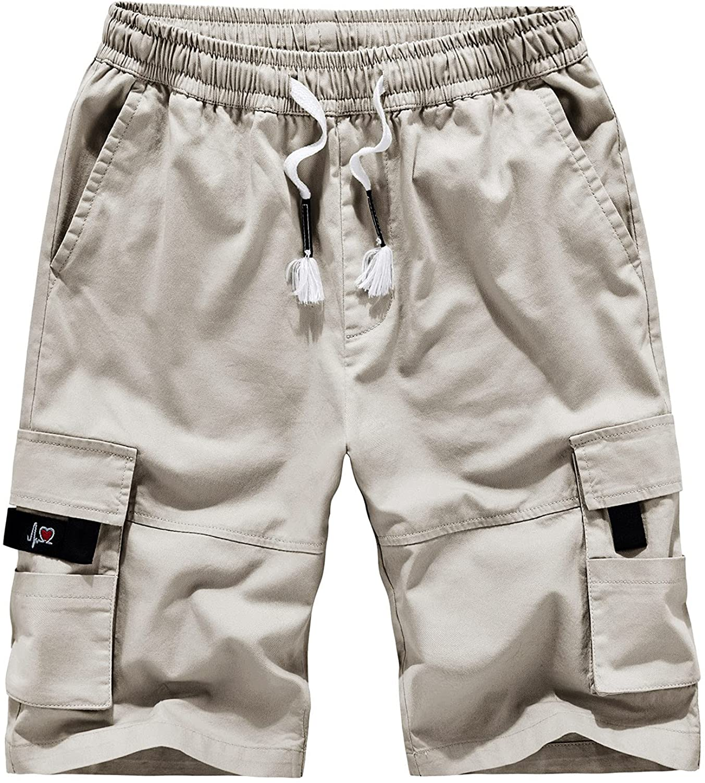 Toamen Mens Cargo Shorts with Pockets, Elastic Waist Drawstring Cotton Blend Casual Outdoor Lightweight Shorts