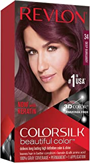 Revlon Colorsilk Beautiful Color, Permanent Hair Dye with Keratin, 100% Gray Coverage,..