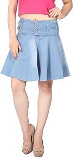FCK-3 Women's Silky Stretchable Denim Flared Skirt