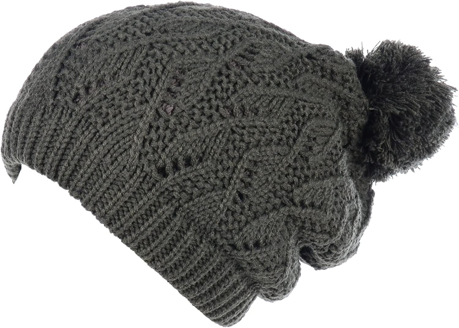 Be Your Own Style BYOS Womens Winter Cute Warm Plush Fleece Lined Leafy Knitted Beret Beanie Hat with Pom,Slouchy Relaxed Fit