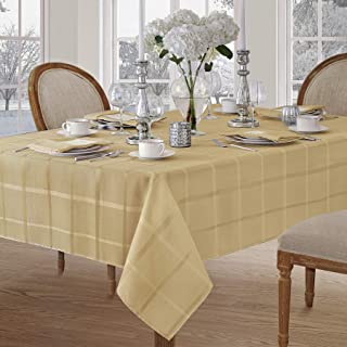 Newbridge Elegance Plaid Christmas Fabric Tablecloth, 100% Polyester, No Iron, Soil Resistant Holiday Tablecloth, 60 Inch x 120 Inch Oblong/Rectangle, Ribbon Gold