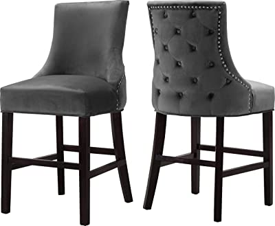 """Meridian Furniture Hannah Collection Modern   Contemporary Velvet Upholstered Counter Stool with Wood Legs, Button Tufting, Nailhead Trim, Set of 2, 19.5"""" W x 20.5"""" D x 40"""" H, Grey"""