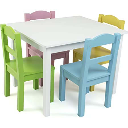 Humble Crew Kids Wood Table 4 Chair Set Primary White Pastels Furniture Decor
