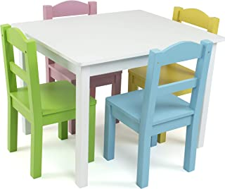 Tot Tutors Wood Table & 4 Chair Set, White/Pastel