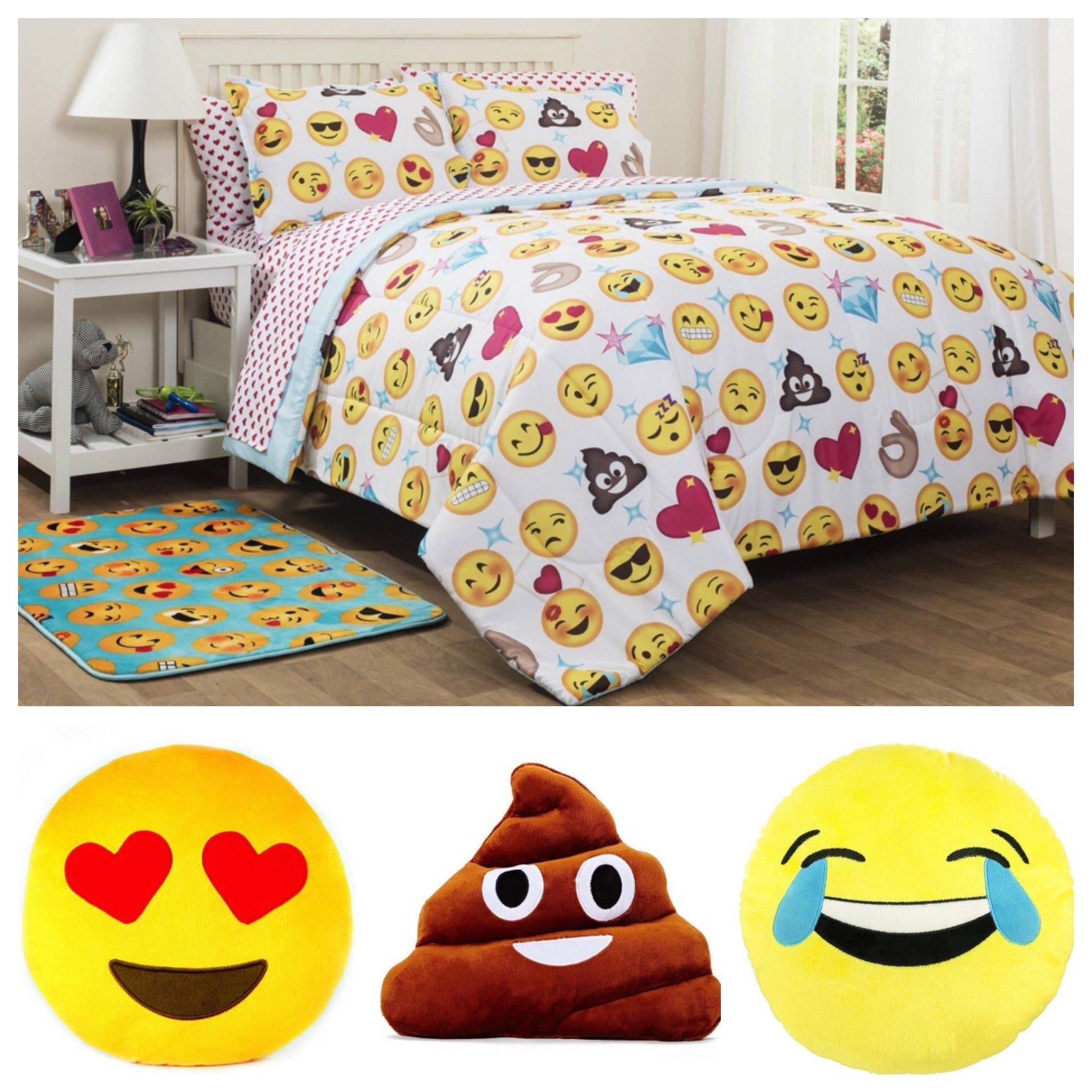 Emoji 女童 10 件套床上用品被子套装 - 双人床