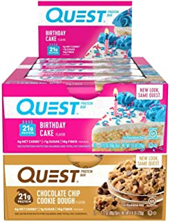 Quest Nutrition Protein Bar Best-Sellers Mix-Up (Birthday Cake and Chocolate Chip Cookie Dough). Low Carb Meal Replacement Bar with Over 20 gram Protein. High Fiber, Gluten-Free (24 Count)