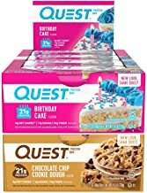 Quest Nutrition Protein Bar Best-Sellers Mix-Up (Birthday Cake and Choco Chip Cookie Dough). Low Carb Meal Replacement Bar...