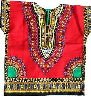 Unisex Bright Africa Colour Children Dashiki Cotton Shirt