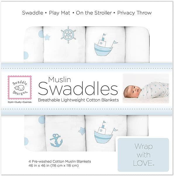 SwaddleDesigns Cotton Muslin Swaddle Blankets Set Of 4 Pastel Blue Nautical Ships Ahoy