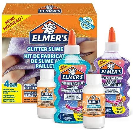 Elmer's Kit Slime con Purpurina, pegamento morado y azul + 2 botellas de activador líquido mágico, 4 unidades