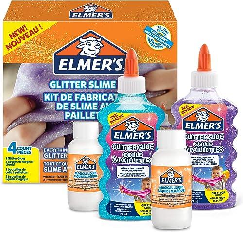 Elmer's 2077256 - Pour Slime pailleté avec colles pailletées bleu et violet + 2 flacons le liquide magique activeur p...
