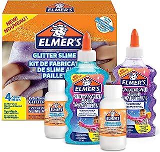 Elmer's Glitter Slime Kit with Purple & Blue Glitter Glue Plus 2 Bottles of Magical Liquid Slime Activator, 4 Count