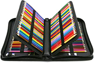 YOUSHARES 160 Slots Colored Pencil Case - Colorful Large Capacity Pen/Pencil Organizer with Strap for Watercolor Pencils, Cosmetic LipSense and Make up Brush (Black)