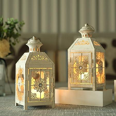Details about  /Iron Vintage Retro White Candle Lantern Baby Shower Wedding Decor Gift Idea-12in