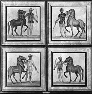 Roman Mosaic Charioteers Ncharioteers Representing (Clockwise From Top Left) The Green Red Blue And White Factions Of The ...