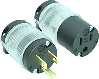 Journeyman-Pro 515PC LIT Lighted Plug & Connector Set 15 Amp 120-125 Volt, NEMA 5-15P + 5-15C, Straight Blade, Male Female Plug Replacement Cord Outlet Connector, Commercial Grade Power Indicator (1)