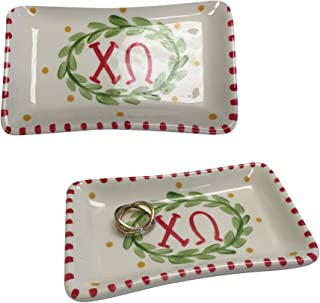 Desert Cactus Chi Omega Sorority Trinket Tray Ring Dish Made of Ceramic Material Letters chi o