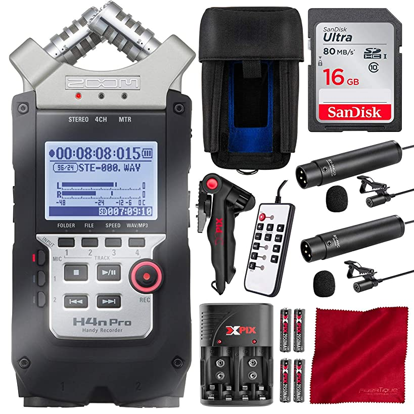 Zoom H4N PRO Digital Multitrack Handy Recorder with 16GB Card and Dual Lavalier Microphone Accessory Bundle