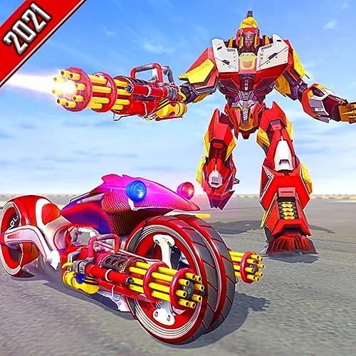 Polizeiroboter verwandeln Höchstgeschwindigkeit Super Stunt Moto Bike: Robot City Rescue-Spiele - Robot Cop War Hover Fahrrad Roboterschießen - Futuristische US-Stadtpolizei gegen Gangster Crime Chase