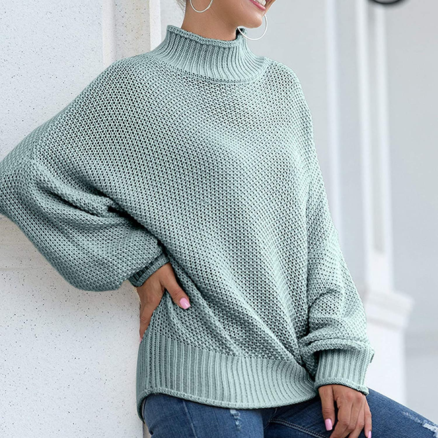FABIURT Sweaters for Women, Womens Turtleneck Chunky Knit Pullover Sweater Long Sleeve Oversized Loose Jumper Blouse Tops