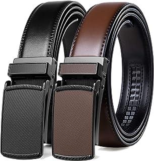 2 Pack Click Ratchet Belt for Men,Comfort Dress Belt with Adjustable Sliding Buc