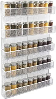 TQVAI 5 Tier Wall Mount Spice Rack Organizer Kitchen Spice Storage Shelf - Made of Sturdy Punching Net, White