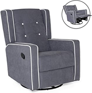 Best Choice Products Microfiber Tufted Mid-Century Polyester Upholstered Glider Recliner Lounge Rocking Chair w/ 360-Degree Swivel, Full Recline, Gray