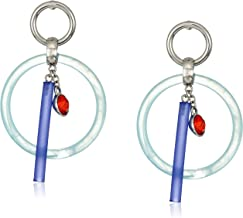 Steve Madden Women's Acrylic Open Circle and Bar Red Bezel Dangle Post Earrings