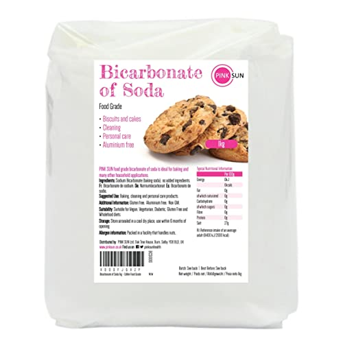 PINK SUN Bicarbonate of Soda 1kg - Edible Food Grade Pure Baking Soda 1000g - Bulk Buy Aluminium and Gluten Free Bicarb (also available in 2kg, 3kg and 4kg)