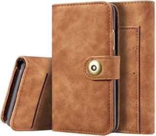 2018 Phone Covers for iPhone X,Retro Magnetic Horizontal Flip Leather Case with Card Slots & Wallet & Photo Frame & Detachable Back Cover for iPhone X (Color : Brown)