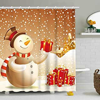 Shower Curtain Merry Christmas Season Eve New Year Decorative Decor Happy Snowman Sending You Gift Polyester Fabric 70.8 Inch Bathroom Bath Set