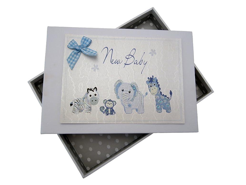 White Cotton Cards New Baby, Mini Photo Album, Blue Toys