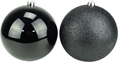 Pack of 2-200mm Baubles - Shiny & Glitter Design - Giant Christmas Baubles (Black)