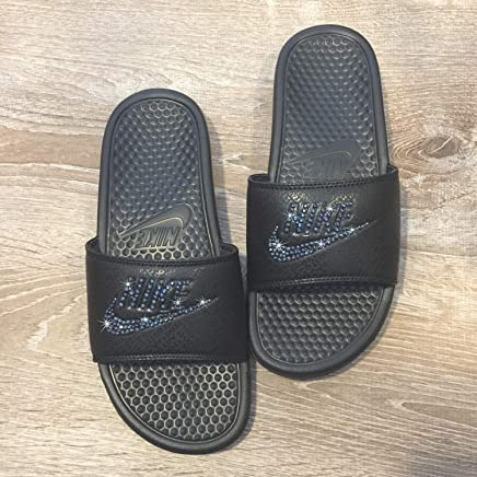 7e4fe71a364e Bling NIKE SLIDES with Swarovski Crystals ALL BLACK Women s NIKE Benassi  JDI Slides Custom Bedazzled Slip
